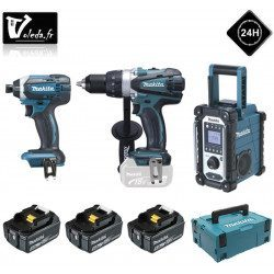 Lot de 3 machines Makita perceuse, visseuse et radio 18V - LOT0099