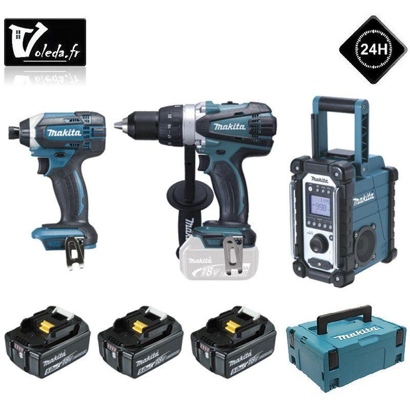 Lot de 3 machines Makita perceuse, visseuse et radio 18V - LOT0099