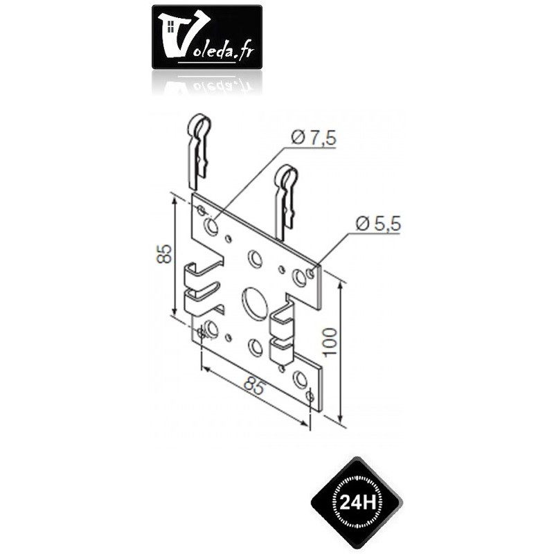 Support moteur Nice serie Neo M Ø 45 mm - Double pince