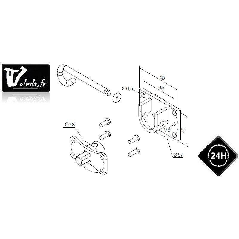 Support moteur Nice Era M Ø 45 mm - Etrier et pivot rond
