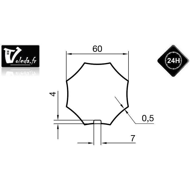 Bague adaptation moteur Nice Era M octogonal etoile 60