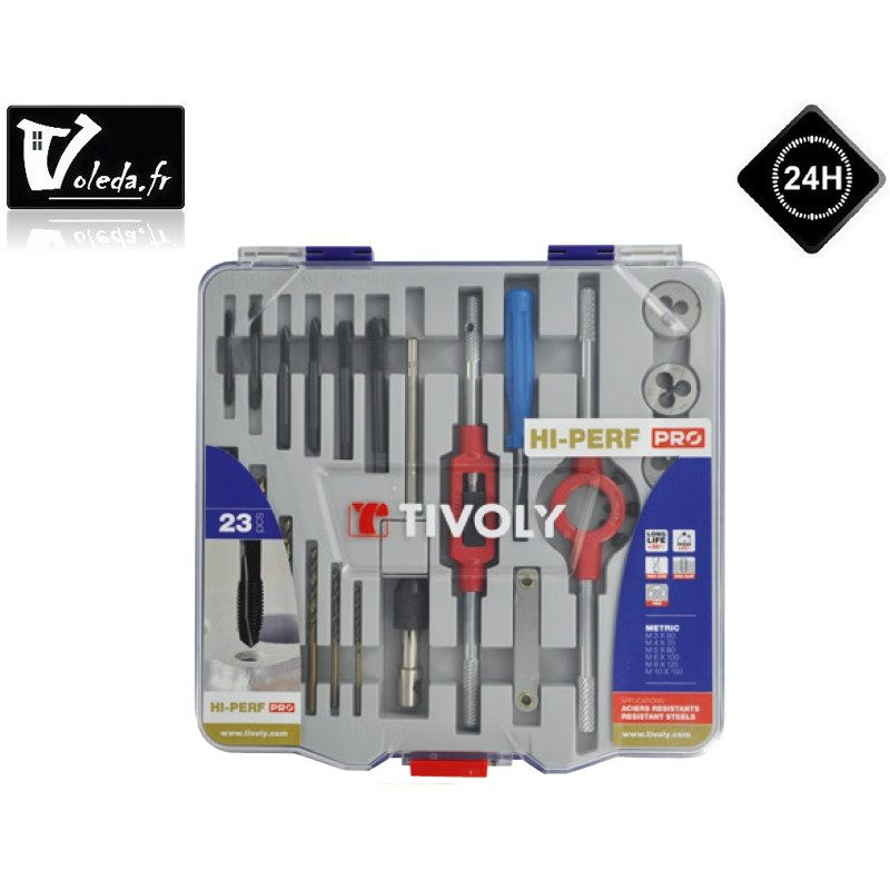 Coffret 23 pieces Tivoly de taraudage et filetage HSS