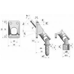 Sortie de caisson volet roulant 50° - Hexagonale 7 - Amovible 35x52 - Blanche