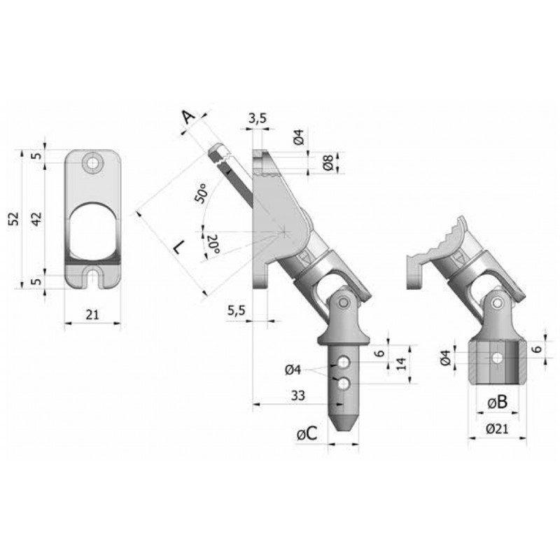 Sortie de caisson volet roulant 50° 21x52 amovible blanche - Hexa 7