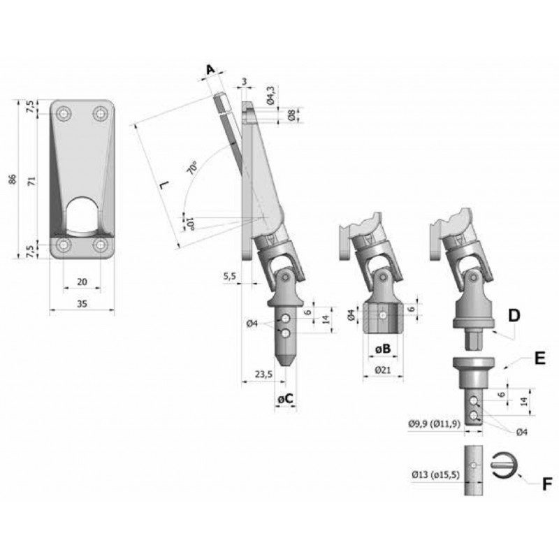 Sortie de caisson volet roulant 70° 35x86 amovible grise - Hexa 7