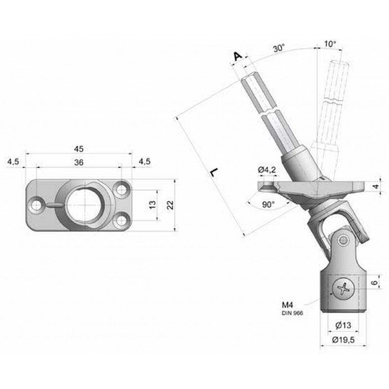 Sortie de caisson volet roulant 30° 22x45 amovible grise - Hexa 7