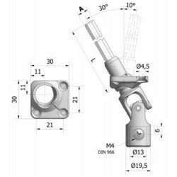 Sortie de caisson volet roulant 30° 30x30 amovible grise - Hexa 7