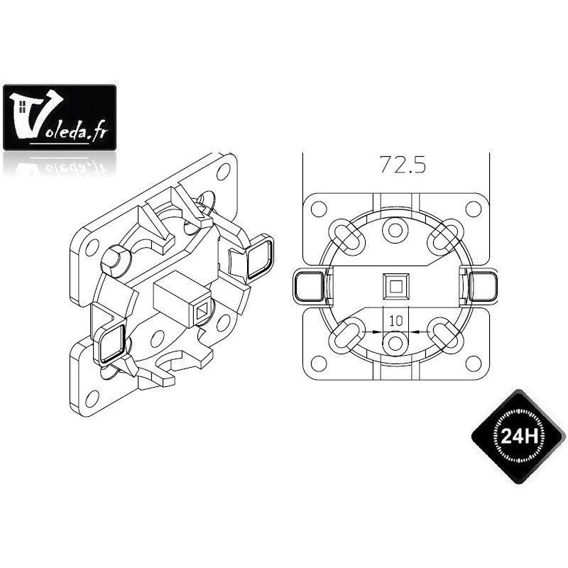 Support moteur Came Ø 45 mm rapide Mondrian 5 avec cheville