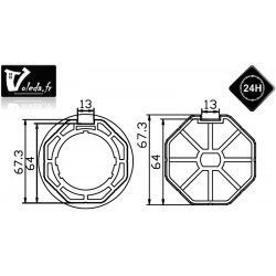 Bagues adaptation moteur Came 45 mm - Octogonal 70