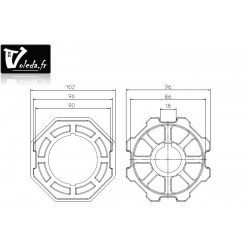 Bagues adaptation moteur Came 55 mm - Octogonal 102