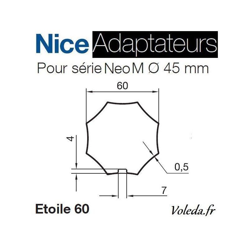 Bague adaptation moteur Nice Neo M octogonal etoile 60