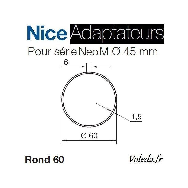 Bague adaptation moteur Nice Neo M Rond 60x1,5