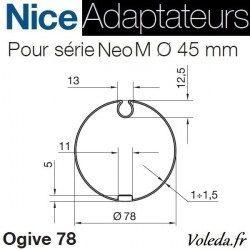 Bague adaptation moteur Nice Neo M ogive 78