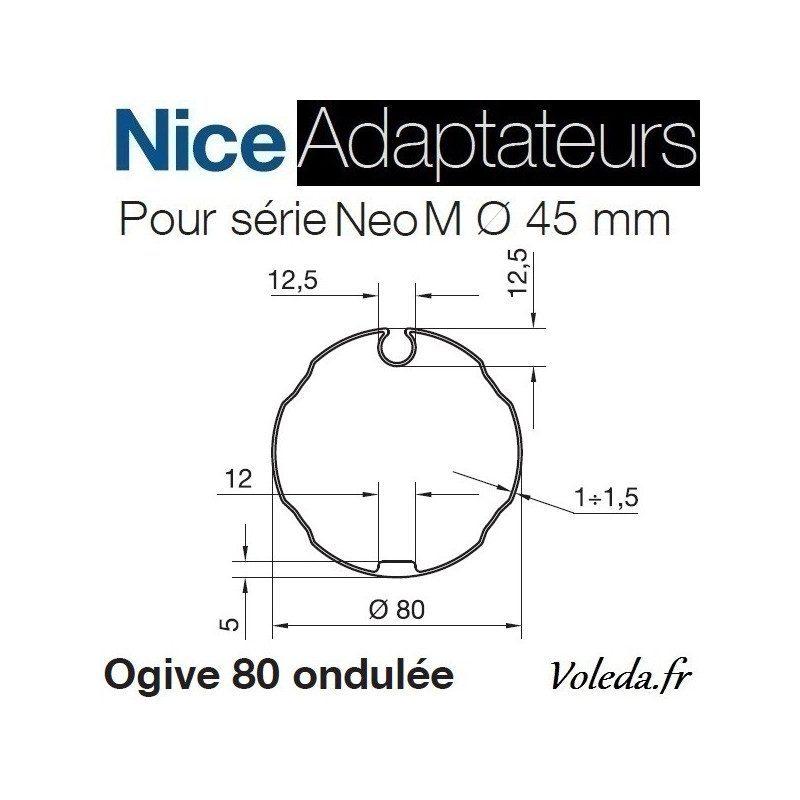 Bague adaptation moteur Nice Neo M ogive 80 ondulée