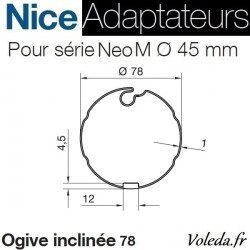 Bague adaptation moteur Nice Neo M ogive 78 inclinée