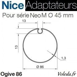Bague adaptation moteur Nice Neo M ogive 86