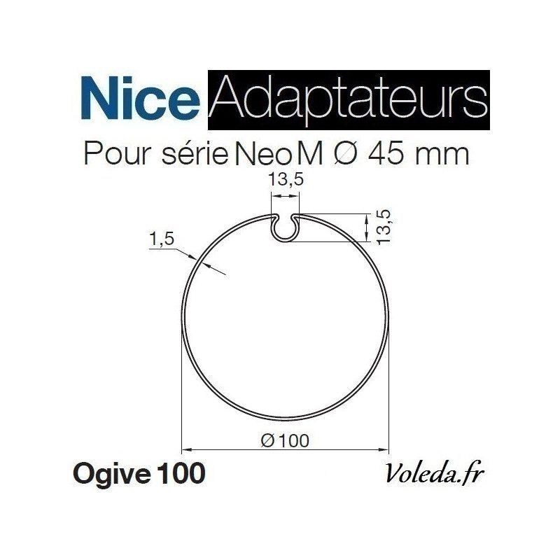 Bague adaptation moteur Nice Neo M ogive 100