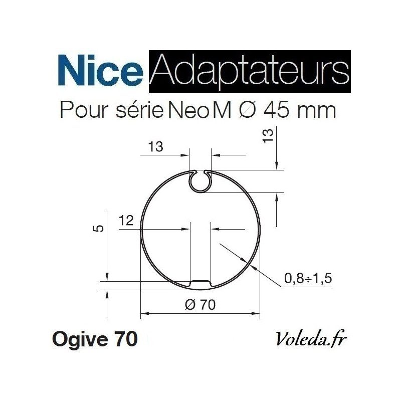 Bague adaptation moteur Nice Neo M ogive 70