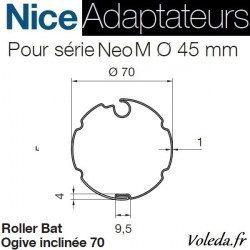 Bague adaptation moteur Nice Neo M ogive 70 inclinée