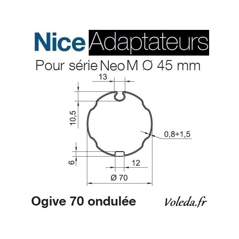 Bague adaptation moteur Nice Neo M ogive 70 ondulée