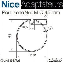 Bague adaptation moteur Nice Neo M Ovale avec ogive 61-64