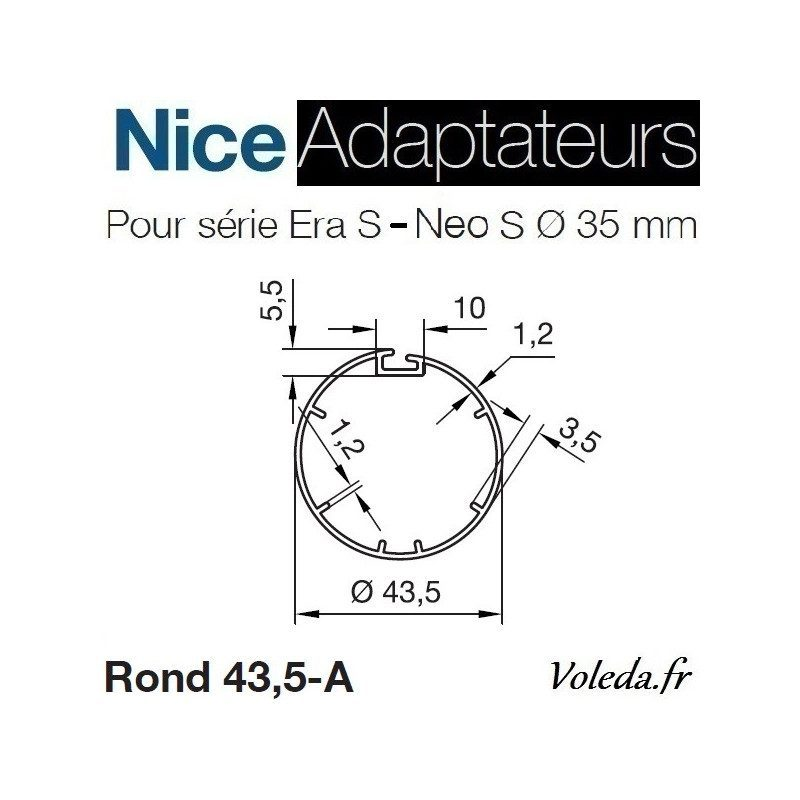 Bague adaptation moteur Nice Neo S - Era S - Rond 44