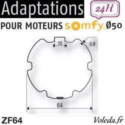 Bague adaptation moteur Somfy LT50 ZF 64