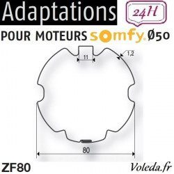 Bague adaptation moteur Somfy LT50 ZF 80