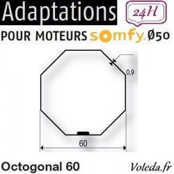 Bague adaptation moteur Somfy LT50 Octogonal 60 Imbac
