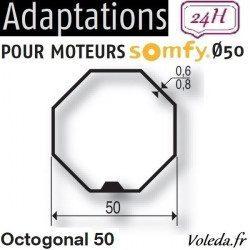 Bague adaptation moteur Somfy LT50 Octogonal 50 Selve Gaviota