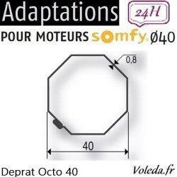 Bague adaptation moteur Somfy LS40 Deprat Octogonal 40
