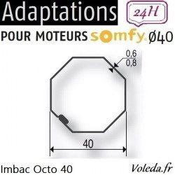 Bague adaptation moteur Somfy LS40 Octogonal 40 Simbac