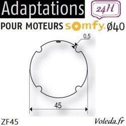 Bague adaptation moteur Somfy LS40 ZF 45