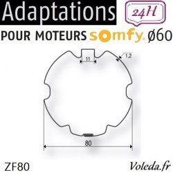 Bague adaptation moteur Somfy LT60 ZF 80