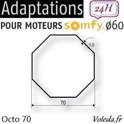 Bague adaptation moteur Somfy LT60 Octogonal 70