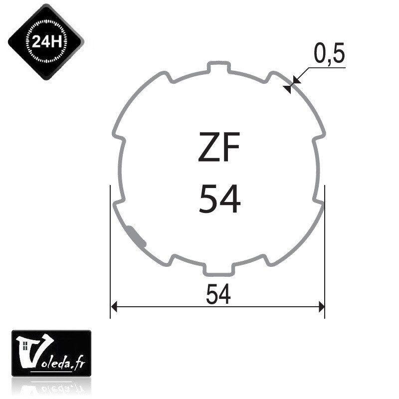 Bagues adaptation moteur Came 45 mm - Rond ZF 54