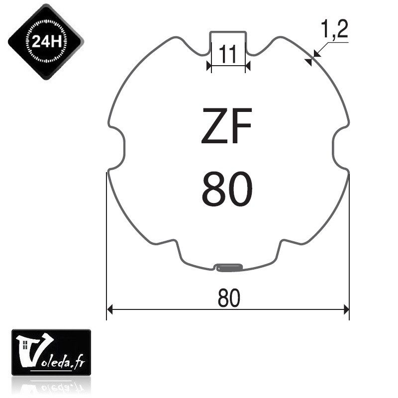 Bagues adaptation moteur Came 45 mm - Rond ZF 80
