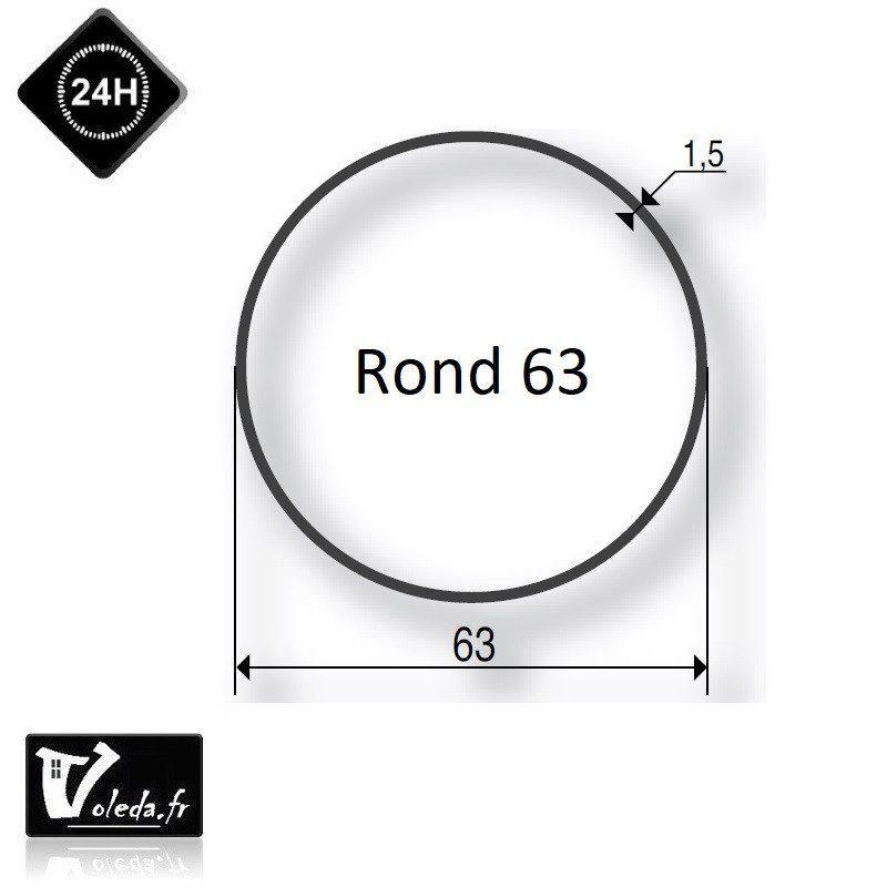 Bague adaptation moteur Somfy LT60 rond lisse 63x1,5mm- clippage faible