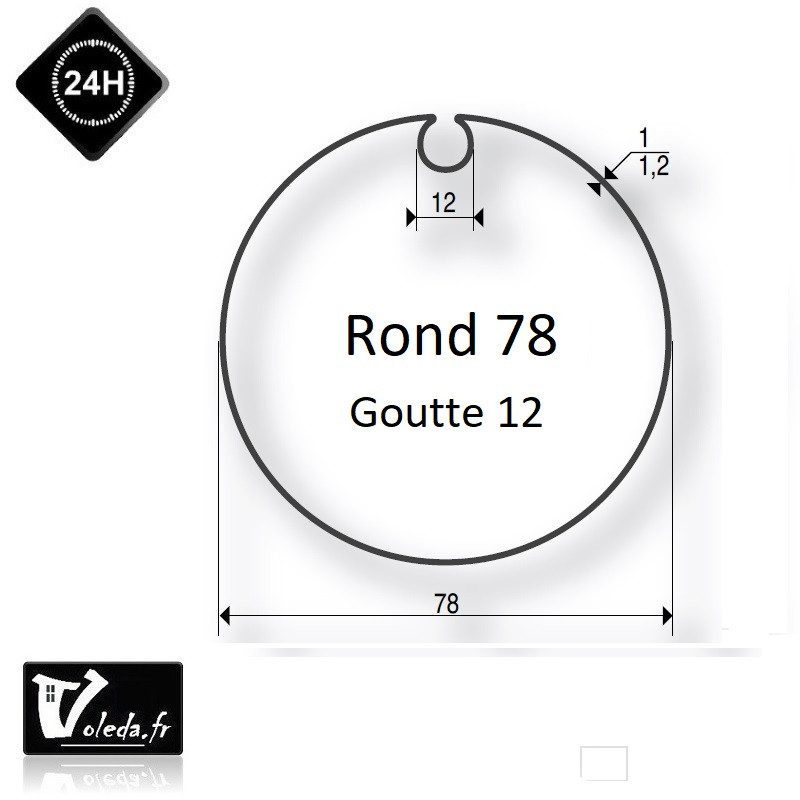 Bague adaptation moteur Somfy LT60 Tube rond 78 Goutte 12