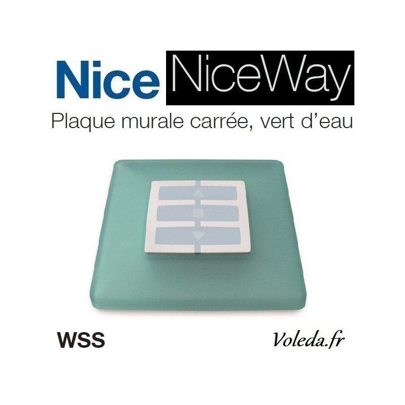 Plaque murale Nice Opla carré vert d'eau - emetteur NiceWay