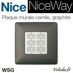 Plaque murale Nice Opla carré graphite - emetteur NiceWay