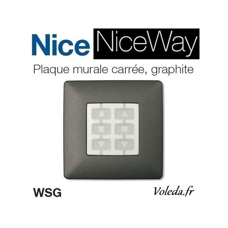 Plaque murale Nice Opla carré graphite - emetteur NiceWay