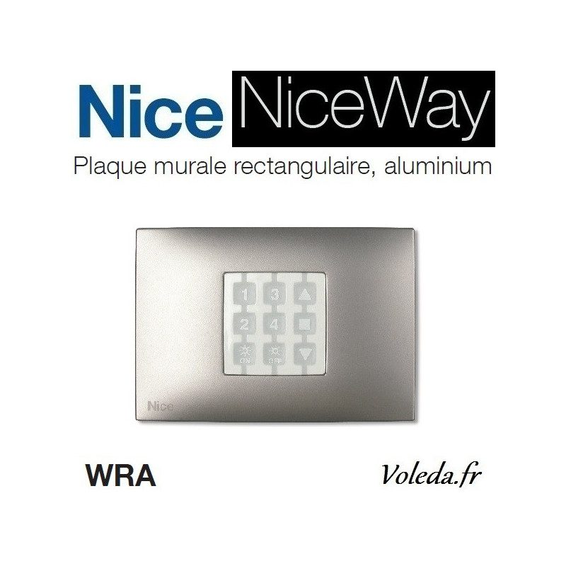 Plaque murale Nice Opla rectangulaire aluminium - emetteur NiceWay