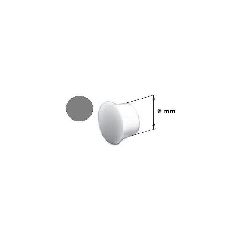 Bouchon PVC coulisse volet roulant cache vis gris - 8 mm