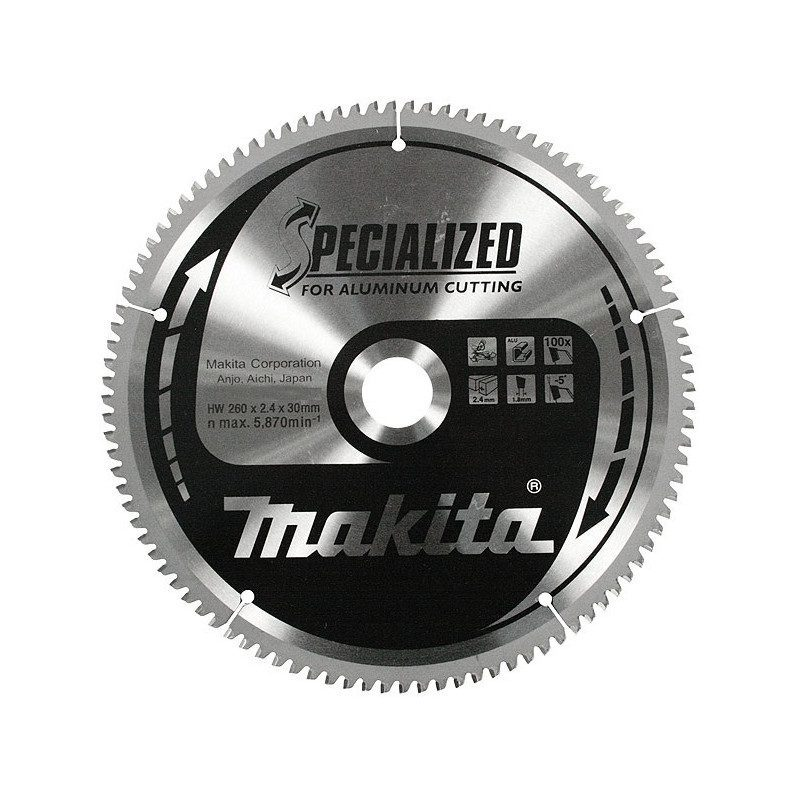 Lame carbure Makita 260 pour aluminium 100 dents