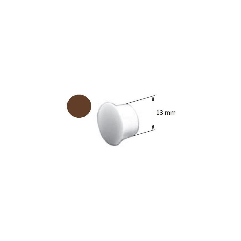 Bouchon PVC volet roulant cache vis marron - 13 mm