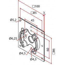 Support moteur volet roulant 100x100 Cherubini 45 mm
