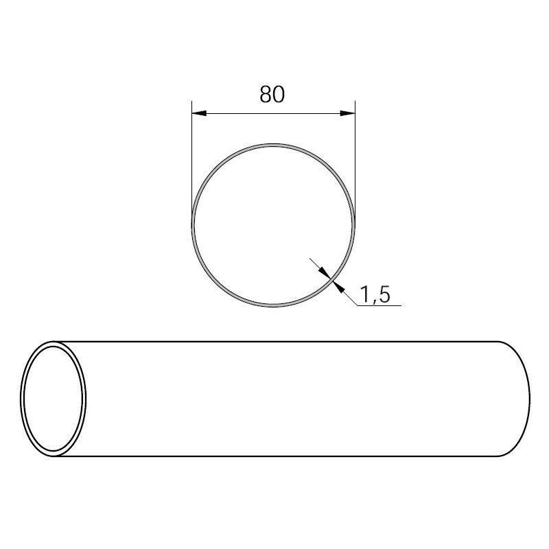 Axe de store Rond lisse 80 mm