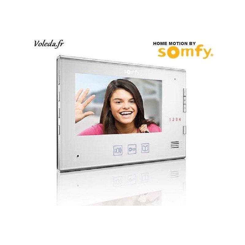 moniteur visiophone somfy v400 v600 blanc portier video. Black Bedroom Furniture Sets. Home Design Ideas