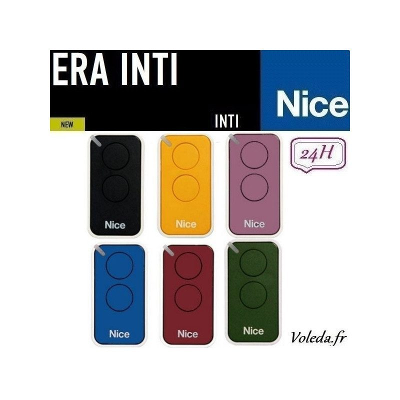 Pack famille de 6 telecommandes Nice Era Inti 2 canaux - multicouleur